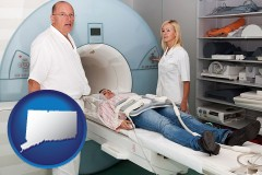 connecticut a magnetic resonance imaging machine with a technician, nurse, and patient