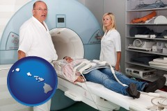 hawaii a magnetic resonance imaging machine with a technician, nurse, and patient