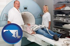 maryland map icon and a magnetic resonance imaging machine with a technician, nurse, and patient