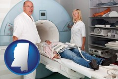 mississippi a magnetic resonance imaging machine with a technician, nurse, and patient