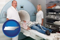 tennessee a magnetic resonance imaging machine with a technician, nurse, and patient