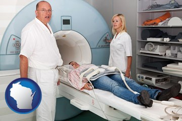 a magnetic resonance imaging machine with a technician, nurse, and patient - with Wisconsin icon